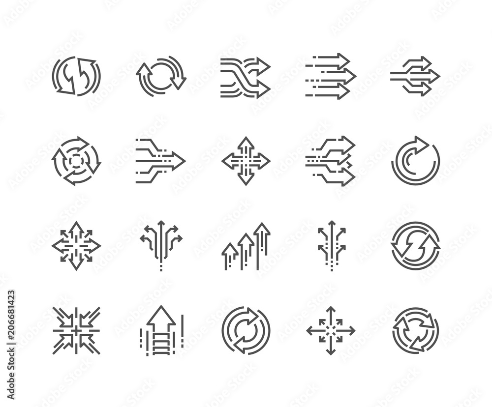 Fototapety, obrazy: Simple Set of Abstract Transition Related Vector Line Icons. Contains such Icons as Update, Conversion, Path and more. Editable Stroke. 48x48 Pixel Perfect.