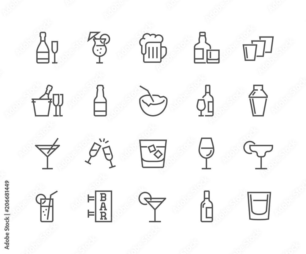 Fototapety, obrazy: Simple Set of Alcohol Related Vector Line Icons. Contains such Icons as Champagne, Whisky, Cocktail, Shots and more. Editable Stroke. 48x48 Pixel Perfect.