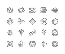 Simple Set Of Abstract Transition Related Vector Line Icons. Contains Such Icons As Update, Conversion, Path And More. Editable Stroke. 48x48 Pixel Perfect.