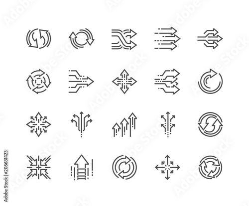 Fotomural  Simple Set of Abstract Transition Related Vector Line Icons