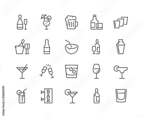 Simple Set of Alcohol Related Vector Line Icons. Contains such Icons as Champagne, Whisky, Cocktail, Shots and more. Editable Stroke. 48x48 Pixel Perfect.