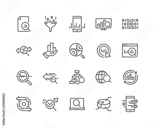 Stampa su Tela  Simple Set of Data Analysis Related Vector Line Icons