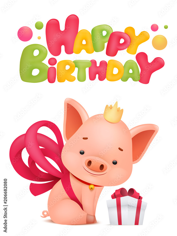 Happy Birthday Card Template With Pig Cartoon Character Foto Poster Wandbilder Bei EuroPosters
