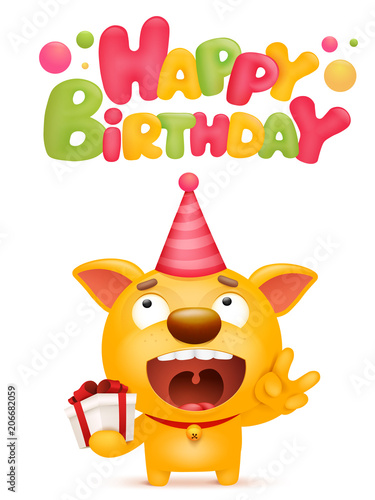 Happy Birthday Card Template With Yellow Emoji Dog Cartoon Character