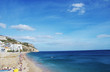 view on the coastal town of Sesimbra with beach in Portugal