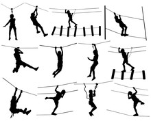 Extreme Sportsman Took Down With Rope. Man Climbing Vector Silhouette Illustration, Isolated On White. Sport Weekend Zipline Action In Adventure Park Rope Ladder. Ropeway For Fun, Team Building.
