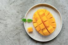 Healthy Breakfast. Sliced Mang...