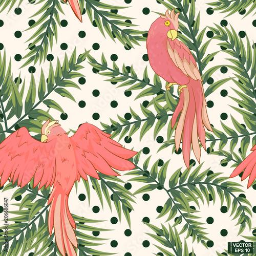 bezszwowy-bialy-wzor-rozowe-papugi