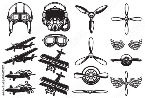 Fototapeta Set of airplanes, propellers