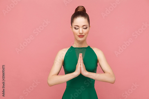 Poster Zen Spiritual practice. Woman closed eyes, doing meditation, mudram peace