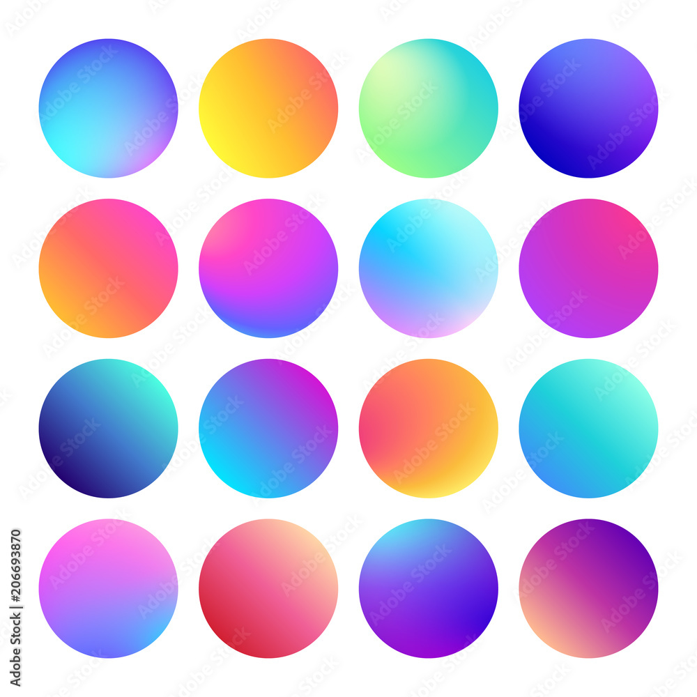 Fototapeta Rounded holographic gradient sphere button. Multicolor fluid circle gradients, colorful round buttons or vivid color spheres vector set