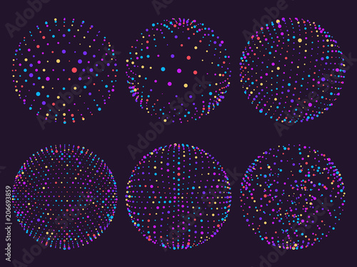 Science atom spheres, dots orbs or particles orbit Fototapete
