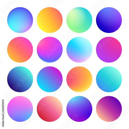 Fotografija Rounded holographic gradient sphere button