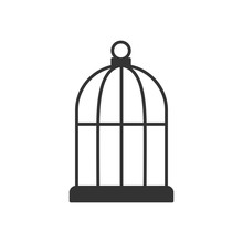 Black Isolated Outline Icon Of Bird Cage On White Background. Line Icon Of Cage.