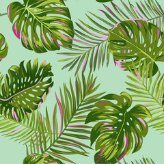Tropical Palm Leaves Seamless Pattern. Watercolor Floral Background. Exotic Botanical Design for Fabric, Textile, Wallpaper, Wrapping Paper. Vector illustration