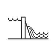 Black Isolated Outline Icon Of Hydroelectric Power Station On White Background. Line Icon Of Hydroelectric Power Station.