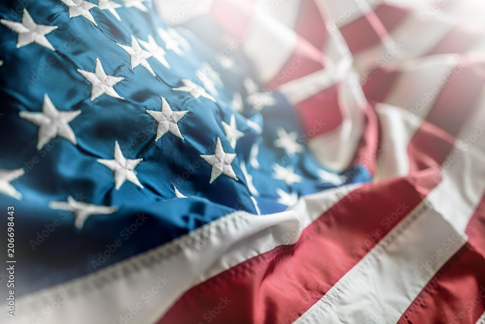 Fototapety, obrazy: Close-up of american flag waving in the wind