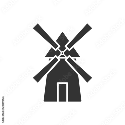 Stampa su Tela Black isolated silhouette of mill on white background