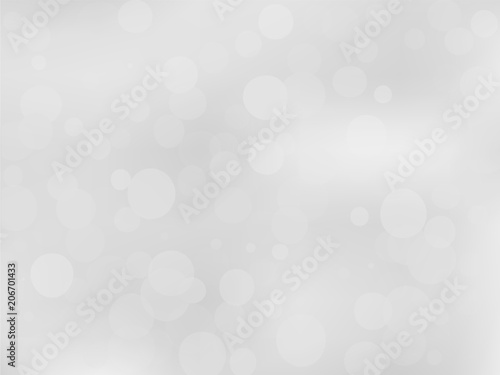 Fototapety, obrazy: Gray-white gradient background with bokeh effect. Abstract blurred pattern. Overlapping transparent bubbles Vector illustration