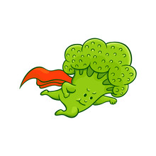 Cheerful Broccoli Character Flying In Super Hero Pose With Red Cape. Funny Green Vegetable Cute Healthy Organic Food Full Of Vitamins. Cartoon Hand Drawn Plant With Arms, Legs. Vector Illustration