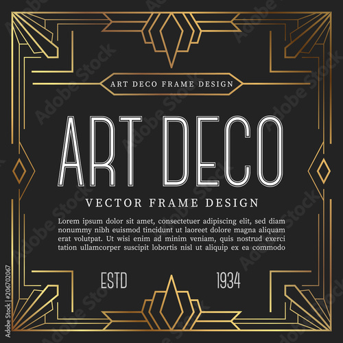 Photo  Vintage frame art deco style. vector illustration