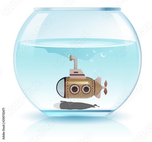 Fotografie, Obraz  submarino en pecera