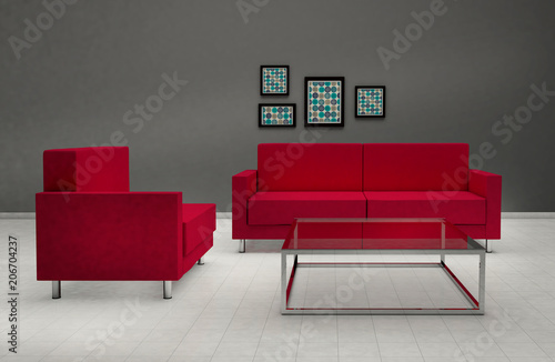Awe Inspiring Modern Living Room Interior 3D Red Sofas Minimal Pabps2019 Chair Design Images Pabps2019Com