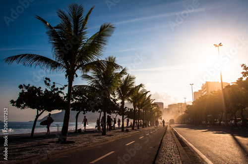 Cycling Track and Palm Trees in Ipanema Beach by Sunset, Rio de Janeiro, Brazil