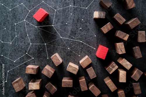 Fotografía  organization and leadership ideas concept with color wood block outstanding from