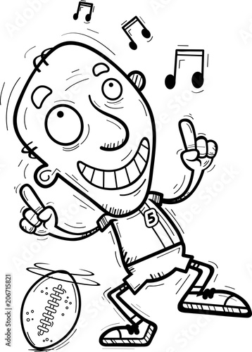 Fotobehang Cartoon draw Cartoon Senior Football Player Dancing