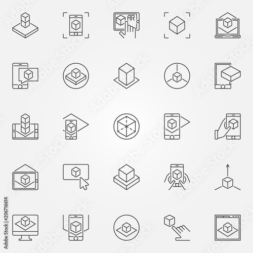 Augmented reality icons set. Vector AR outline signs Canvas Print