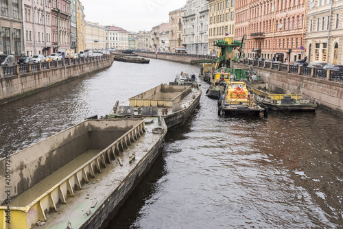Traffick of barges on Neva river, St Petersburg, Russia Wallpaper Mural
