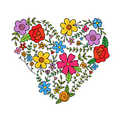 Floral colorful heart shaped by spring or summer flowers, branches and leaves. Floral heart decorative greeting card, banner or pattern.