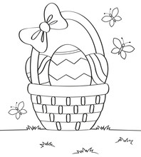 Basket With Easter Eggs. Black...