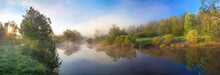 Rural Panorama With River, Fog...