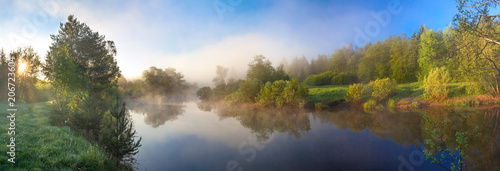 Obraz rural panorama with river, fog and forest at sunrise - fototapety do salonu