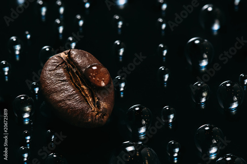 Poster Café en grains shiny fresh roasted coffee macro beans on glass background with water drops