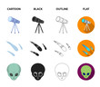 Asteroid, car, meteorite, space ship, station with solar batteries, the face of an alien. Space set collection icons in cartoon,black,outline,flat style vector symbol stock illustration web.