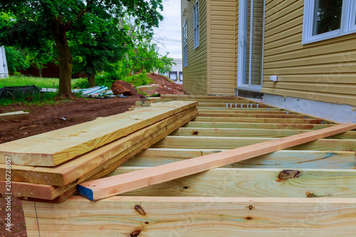 Photo  A new wooden, timber deck being constructed