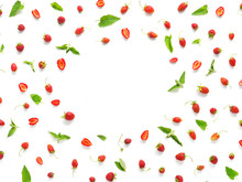 Creative Frame Flat Layout Of Strawberries And Mint Isolated On White Background. Top View.