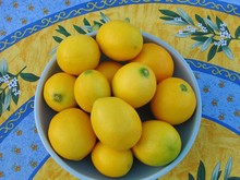 Fresh Meyer Lemons In A Blue Bowl On A Bright Provencal Print Tablecloth Of Yellow, Blue And Green