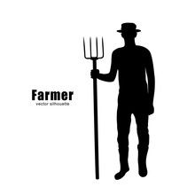 Vector Silhouette Of A Farmer ...
