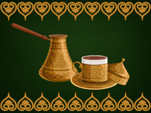 Turkish Traditional Antique Decorated Copper Cezve And Cup Of Coffee With Cap On Arabic Ornamental Green Background.