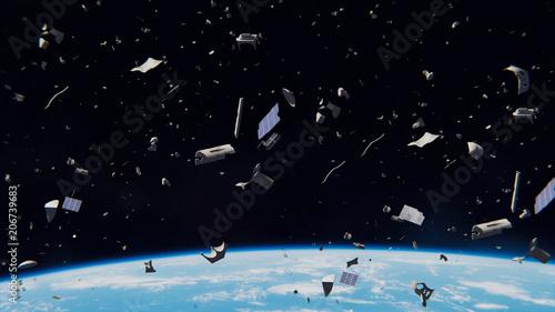 Obraz space debris in Earth orbit, dangerous junk orbiting around the blue planet  - fototapety do salonu