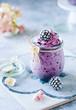 canvas print picture - Sommerliche Nicecream mit Brombeeren im Glas - gesund und vegan