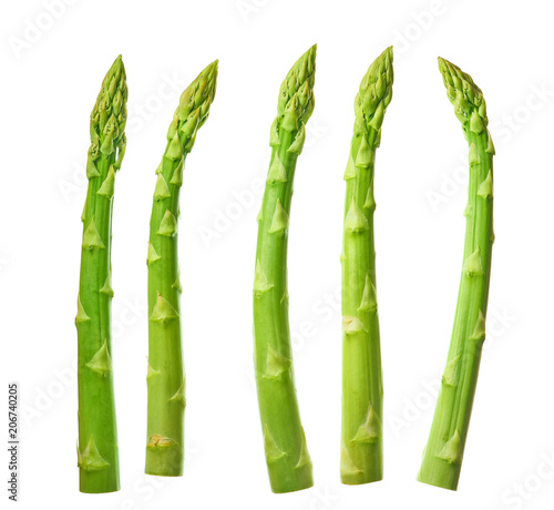 Fotografia  Fresh green asparagus isolated on white background.