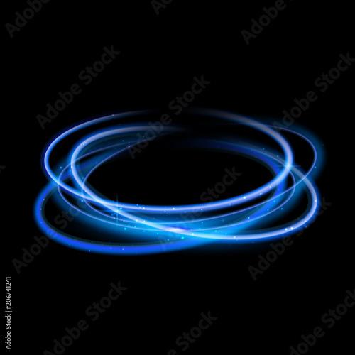 Blue circle light effect background. Swirl glow magic line trail. Light effect motion Wall mural
