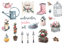Watercolor Garden Set. Garden ...
