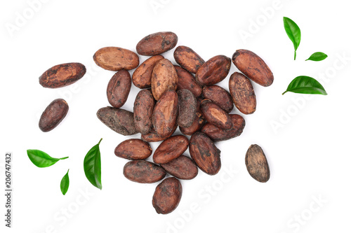 unpeeled cocoa bean decorated with green leaves isolated on white background close-up top view