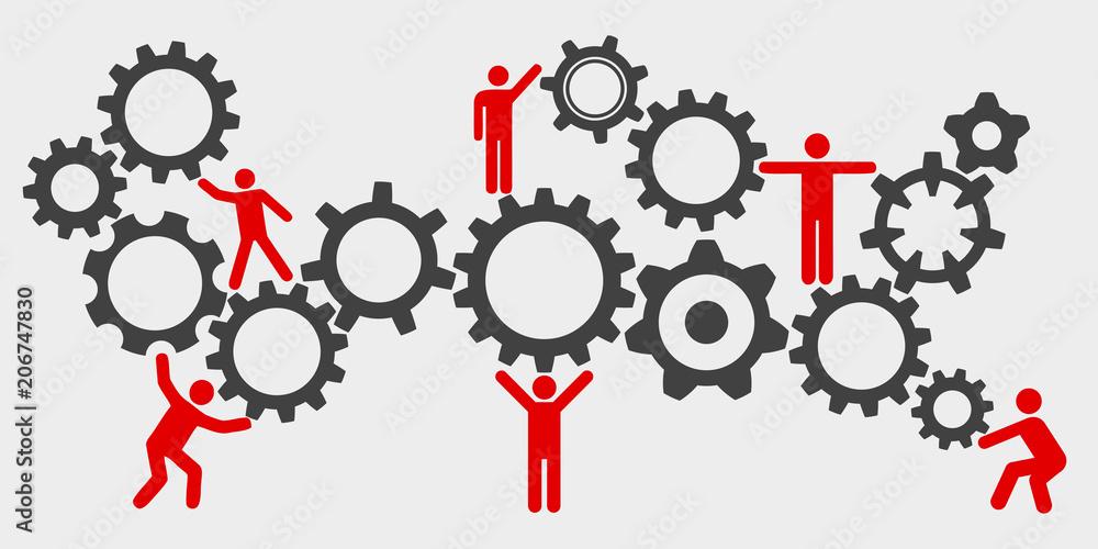 Fototapety, obrazy: Concept teamwork, staff, partnership mechanism - stock vector